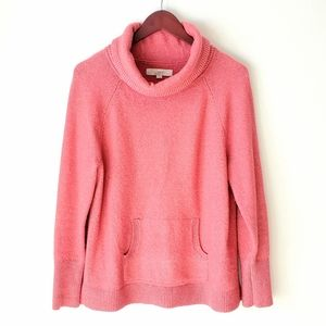 LOFT cozy thick peachy pink cowl neck knit sweater